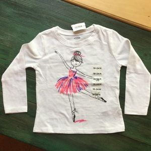 Old Navy Infant Long Sleeve T Shirt with Ballerina